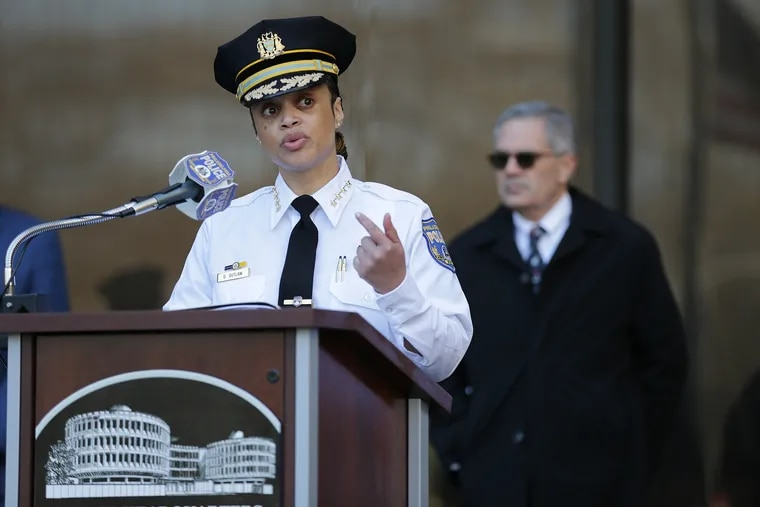 Philadelphia police commissioner Danielle Outlaw answers questions outside the Police Administration Building during a news conference on March 18, 2020.