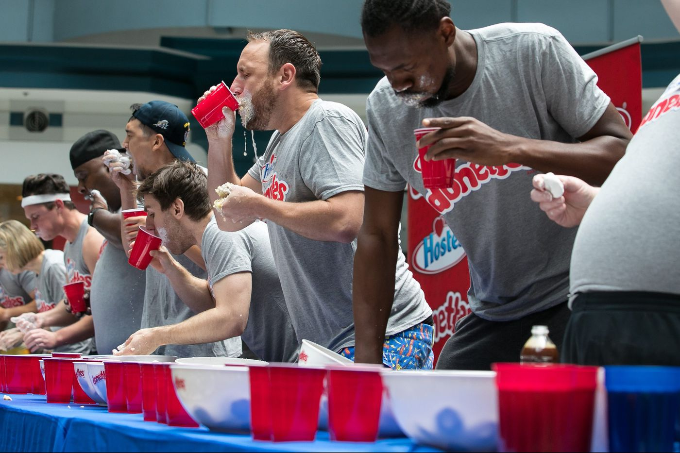 257 doughnuts devoured by Joey Chestnut, world's No. 1 ranked competitive eater, in Center City