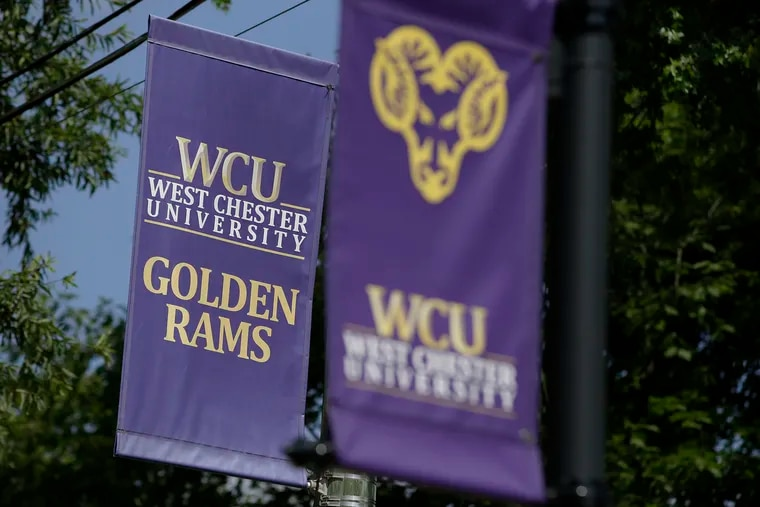 West Chester University Golden Rams banners on the campus on Aug. 5, 2020.