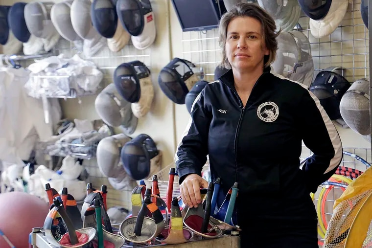 Jennifer Oldham accused a Penn State University assistant fencing coach of sexual misconduct and faulted head coach Wes Glon for failing to report the incident. She is seen at the Mid-South Fencers' Club in Durham, N.C., on May 10, 2019, where she is head coach and owner.