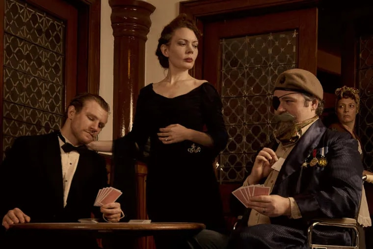 """In the cast of """"The Real Inspector Hound"""" : (from left) Steve Carpenter, Jennifer Summerfield, Joshua L Browns, and Aetna Gallagher. Tom Stoppard's parody of a murder mystery is produced by Curio Theatre. KYLE CASSIDY"""