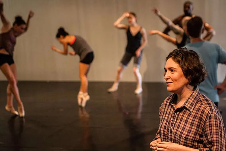 """New Zealander Rosie Langabeer, who composed the music for BalletX's world premiere """"Sunset, o639 Hours"""" discusses the process during rehearsal. (MATTHEW HALL / Staff Photographer)"""