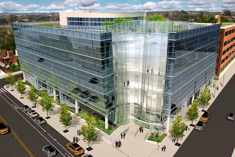 The 3.0 University Place project planned for the corner of 41st and Market streets in University City would be sheathed in photoreactive glass. Credit: The Sheward Partnership