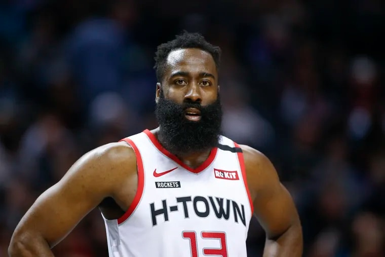 Houston Rockets guard James Harden could be a trade target for Daryl Morey, the new Sixers president of basketball operations.