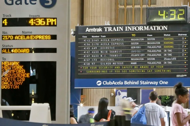 """The flip-board departures board at 30th Street Station - and its distinctive """"clickety-clack"""" sound - will be replaced with a digital readout like on this one at Gate 3."""