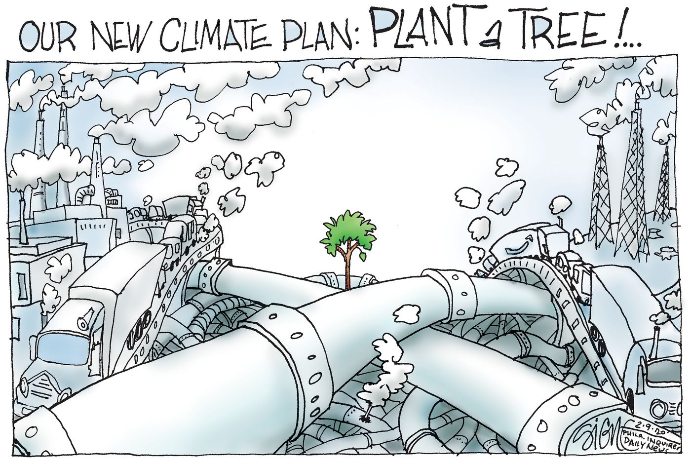 Political Cartoons: Trees to stop climate change?