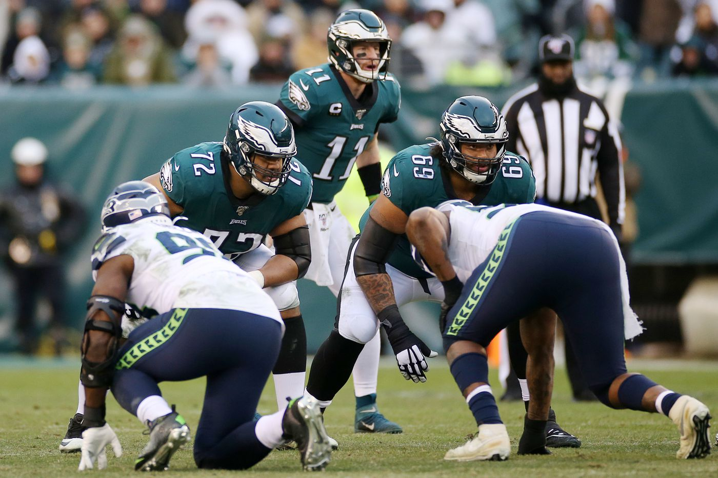 Eagles' Lane Johnson is out; that means Matt Pryor gets his first start, at right guard
