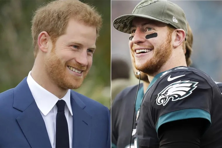 Since news of the royal engagement broke this week, football fans online have jokingly been comparing Prince Harry of Wales to Eagles quarterback Carson Wentz.