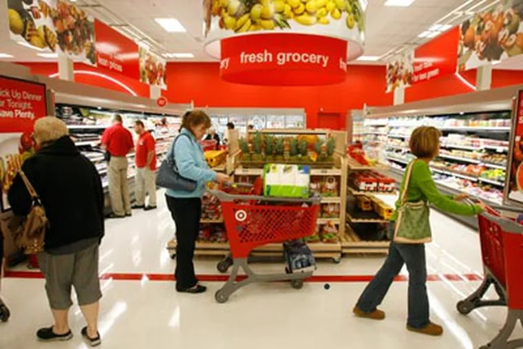 Target is opening its first mall-based store in the region. Attached to the Springfield Mall, the store also features a supermarket section that sells meat, produce, and baked goods. (Charles Fox / Staff Photographer )