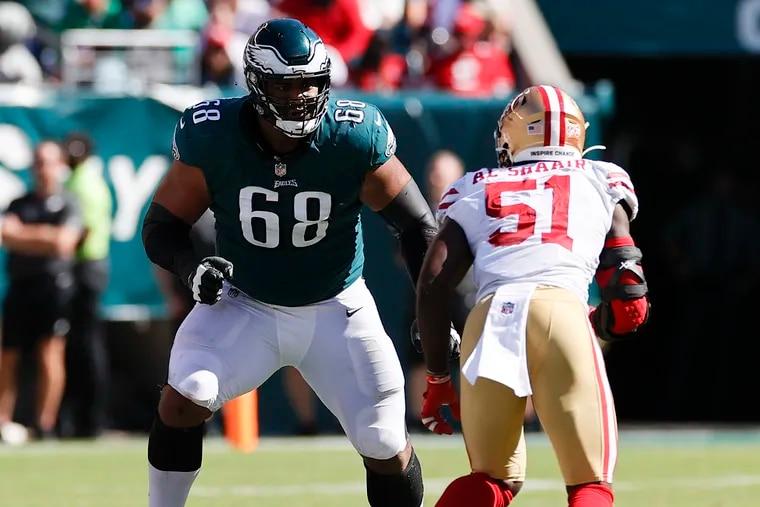 Eagles offensive tackle Jordan Mailata watches San Francisco 49ers linebacker Azeez Al-Shaair on Sunday.