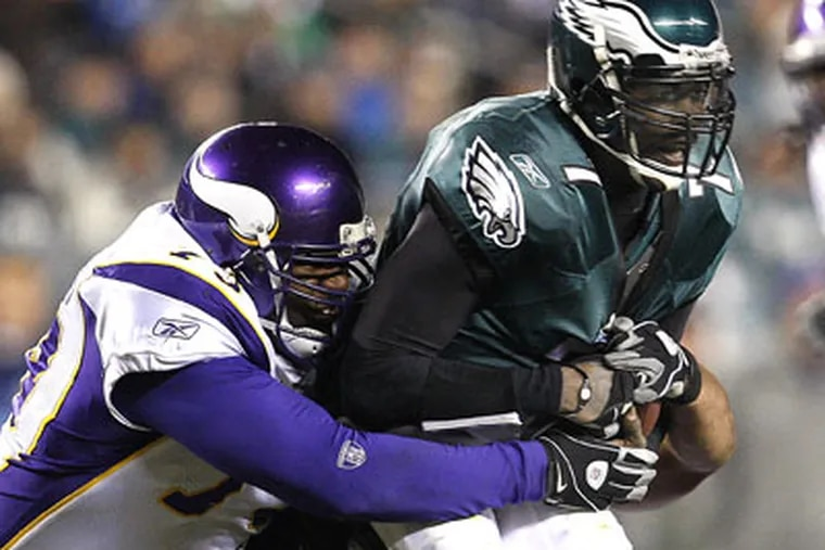 The Vikings forced Michael Vick into two fumbles Tuesday night. (David Maialetti/Staff Photographer)