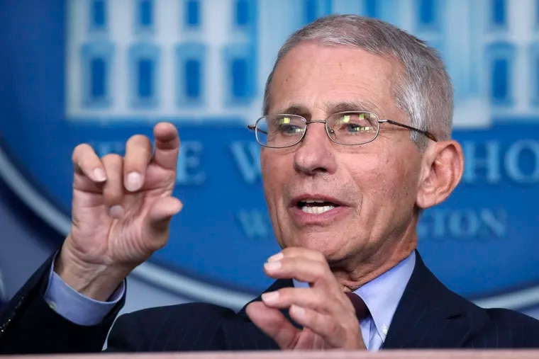 Dr. Anthony Fauci, director of the National Institute of Allergy and Infectious Diseases, speaks about the coronavirus at the White House.