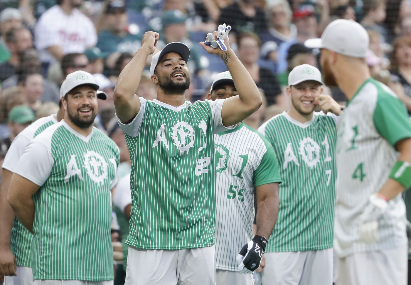 detailed pictures d8ca1 24409 Carson Wentz charity softball game: Hi-jinks and homers take ...