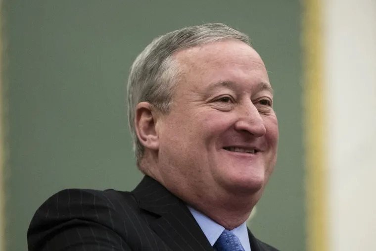 Mayor Kenney smiles before speaking on the School Reform Commission at City Hall on Thursday.