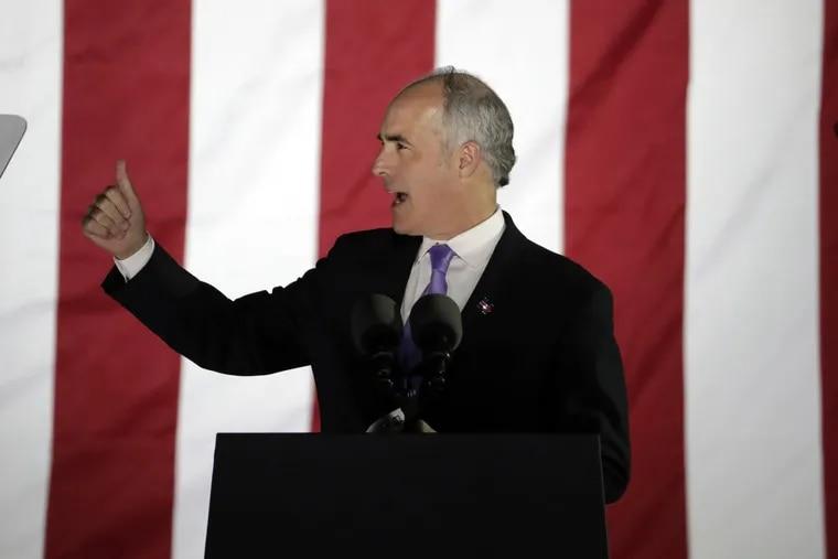 U.S. Senator Bob Casey, D-Pa., speaks during a Hillary Clinton campaign event at Independence Mall on Monday, Nov. 7, 2016 in Philadelphia. (AP Photo/Matt Slocum)