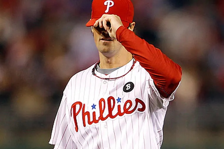 Cole Hamels was booed after allowing six runs in his first start of the season. (Yong Kim/Staff Photographer)