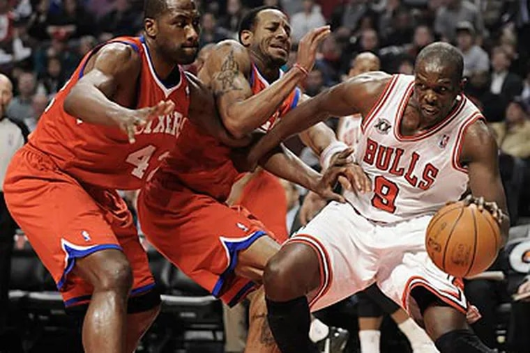 The Bulls led the 76ers by as many as 51 points during the fourth quarter. (Paul Beaty/AP)