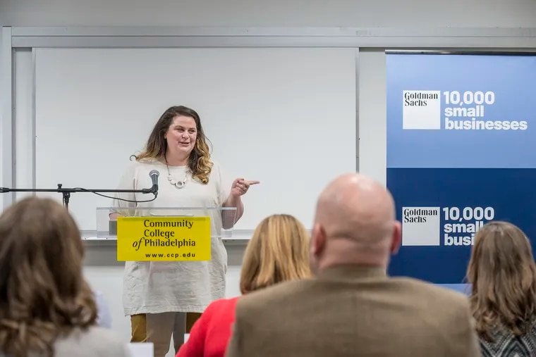 Lily Fischer, co-owner of Cake Life Bake Shop in Fishtown, is a new 2019 graduate of the Goldman Sachs 10,000 small businesses program taught through CCP, the Community College of Philadelphia.