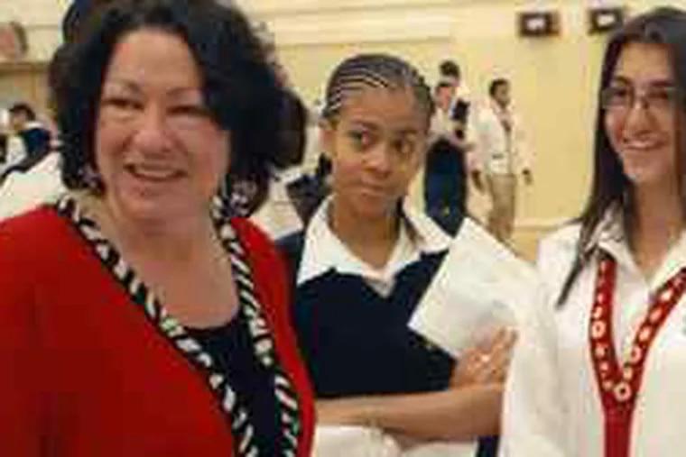 Sonia Sotomayor visits her alma mater, Cardinal Spellman High School in New York.