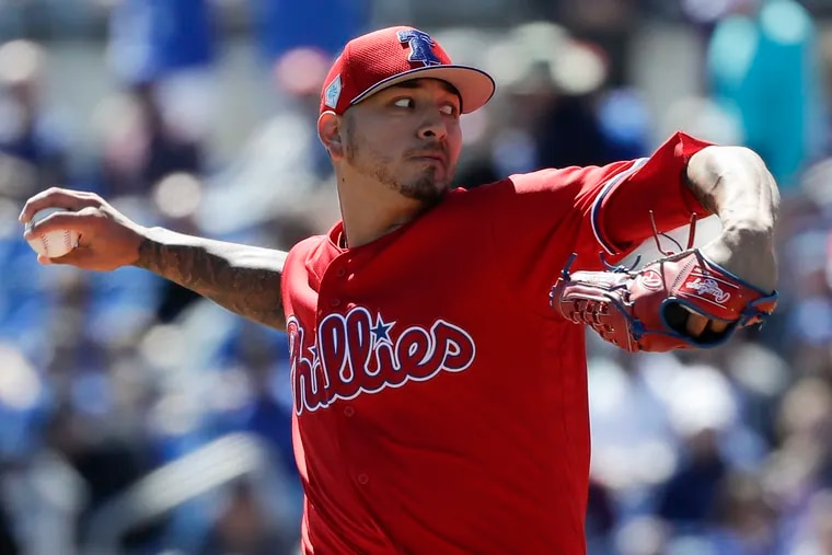 Phillies pitcher Vince Velasquez throws the baseball in the first-inning against the Toronto Blue Jays in a spring training game on Wednesday, March 6, 2019 at Dunedin Stadium in Dunedin, FL.