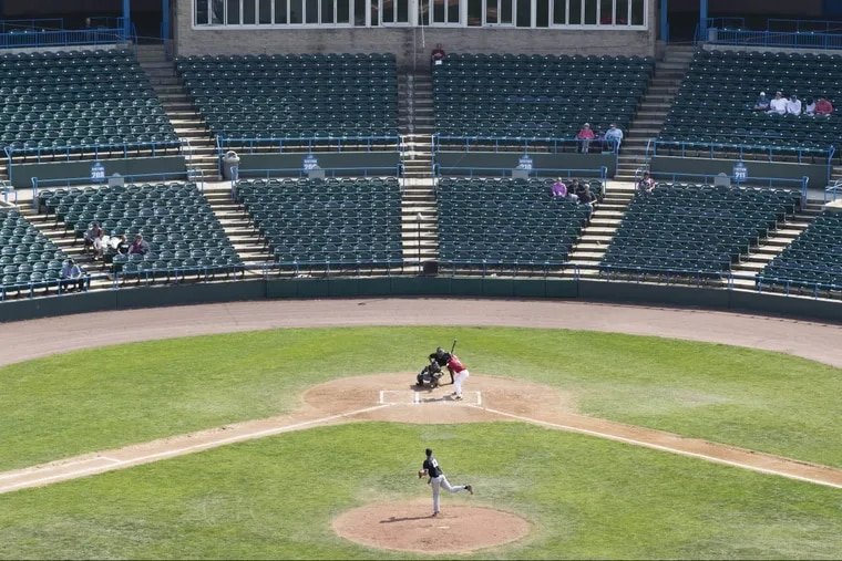 Teams from Stockton University and Rutgers–Camden playing earlier this year at Campbell's Field in Camden. The stadium was once hailed as a sign of the bright future of the waterfront .