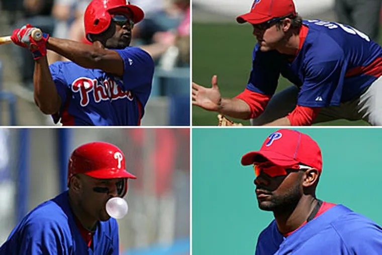 Clockwise from top left: Jimmy Rollins, Chase Utley, Ryan Howard, and Placido Polanco. (David Swanson / Staff Photographer)