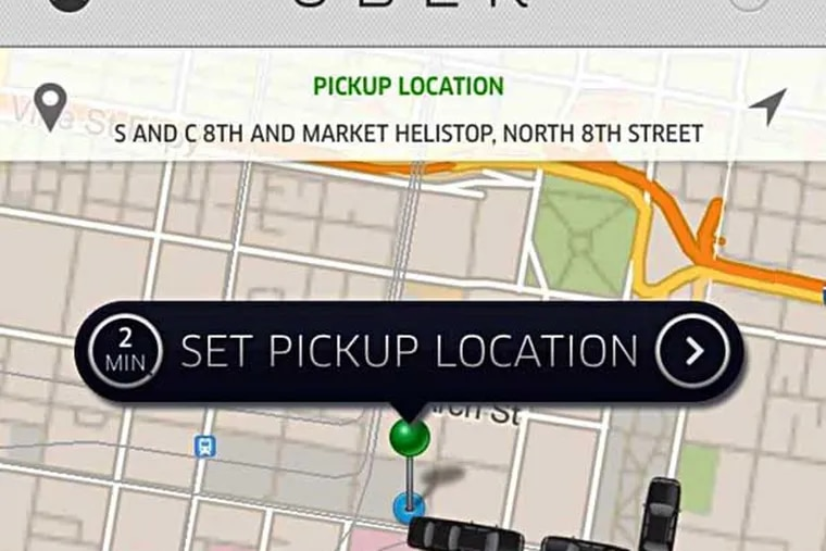 Uber app screen grab, showing a Philadelphia location and available cars.