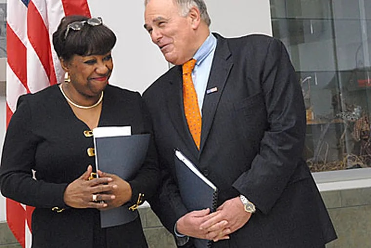 At the School of the Future in West Philadelphia, Gov. Rendell and Mayor Nutter announced a new chairman and majority for the School Reform Commission. Here, Rendell chats with Phila. Supt. of Schools Arlene Ackerman.