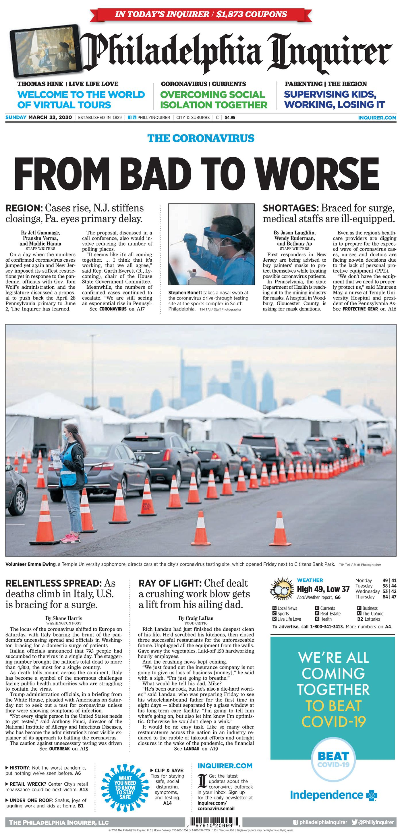 The Philadelphia Inquirer's front page on March 22