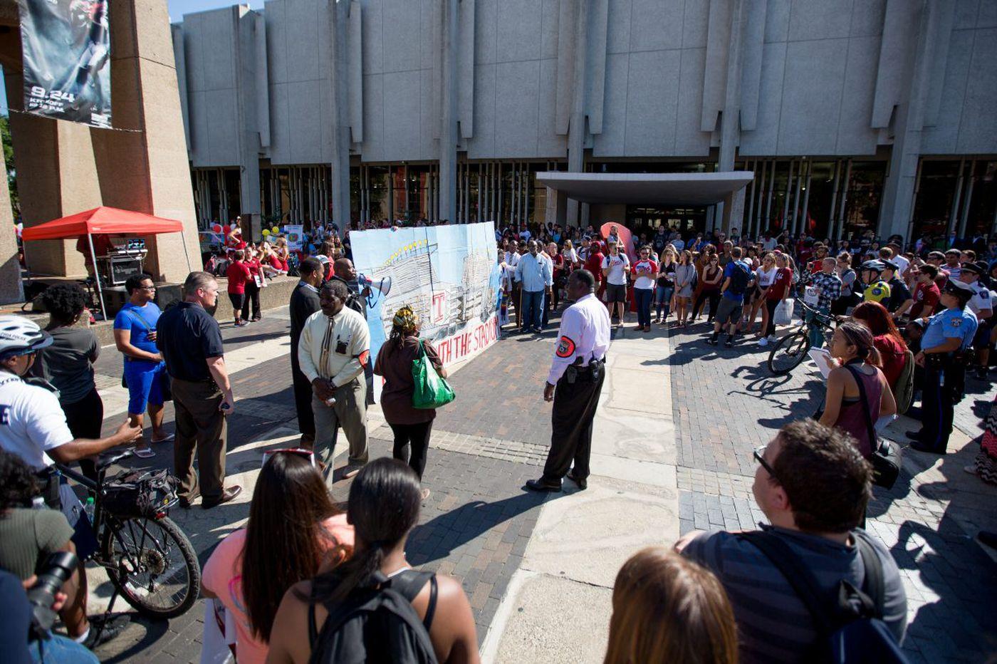 Temple's stadium talk revives, protesters prepare blitz