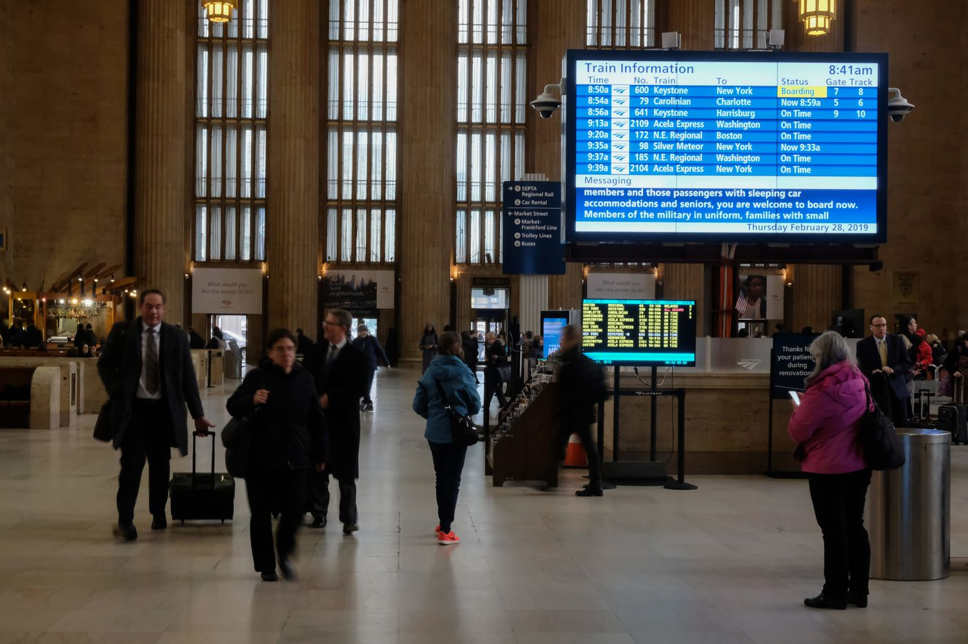 Amtrak's new digital sign at 30th St. Station is up and running