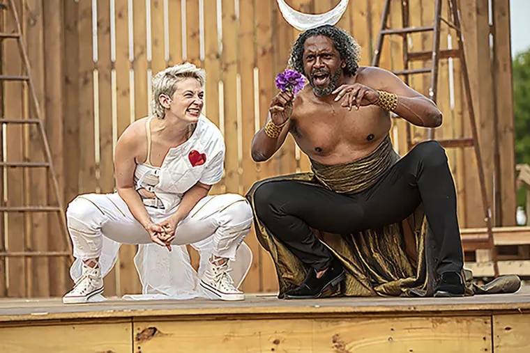 A Midsummer Night's Dream at Pennsylvania Shakespeare Festival with Mary Tuomanen as Puck and Lindsay Smiling as the Fairy King Oberon. He also plays King Theseus in the play.