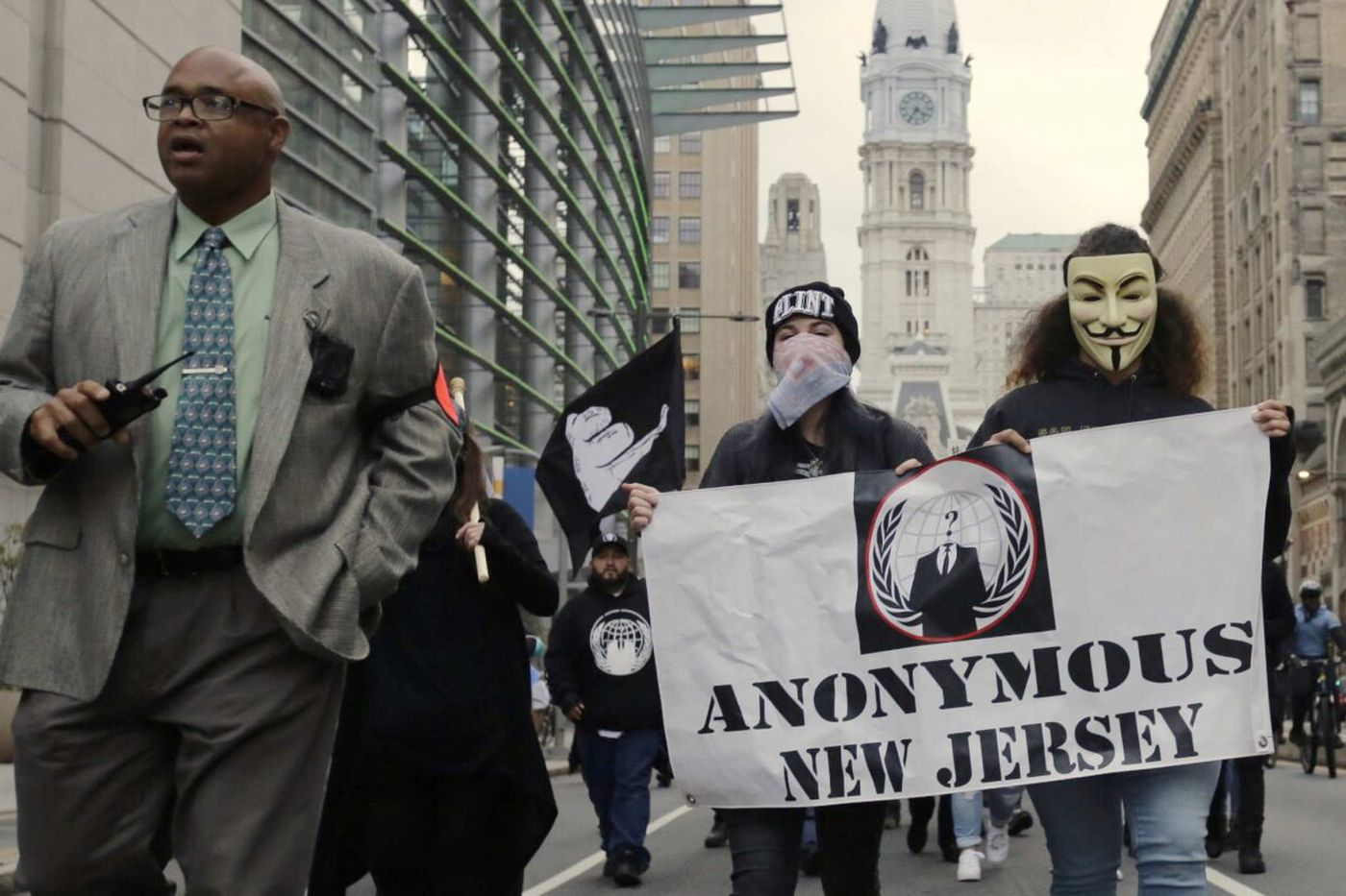 Anonymous' Million Mask March quiet, colorful in Philly