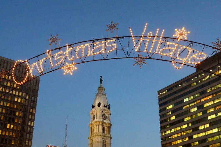 Philadelphia's Christmas Village is located in LOVE Park this year, where the city's Christmas Tree as well. Today was the annual lighting ceremony for the tree.