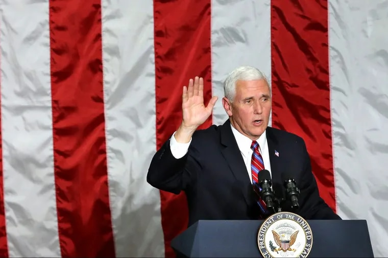 Vice President Mike Pence thanks employees at the conclusion of his remarks at Correct Craft world headquarters in Orlando, Fla., on Thursday, Nov. 2, 2017.