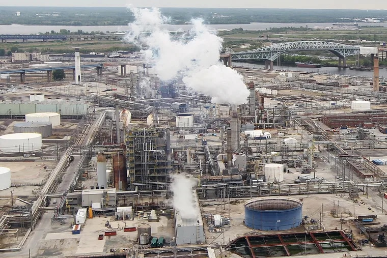 The Philadelphia Energy Solutions refinery complex in South Philadelphia, before the June fire. Former CEO Philip Rinaldi and labor union leaders are pushing Peter Navarro, the assistant to the president for trade and manufacturing policy, to put the Trump Administration's weight behind a bid to keep the refinery operating.