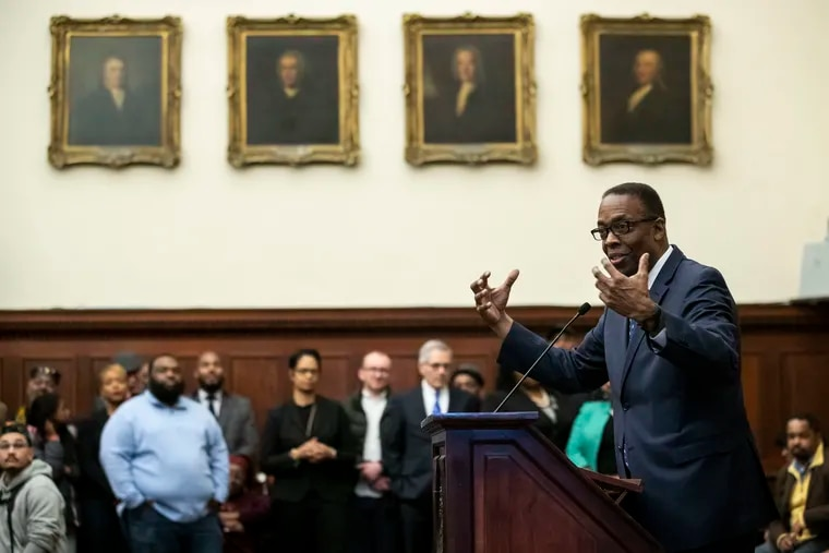 Philadelphia City Council President Darrell L. Clarke speaks during a news conference introducing the new police commissioner. Clarke and his Council colleagues will begin new four-year terms Monday.