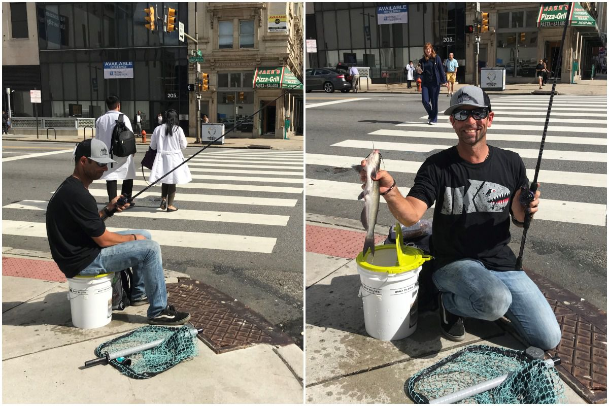 Local pro fisherman angles in Philly storm drains with hot dogs and soft pretzel bait