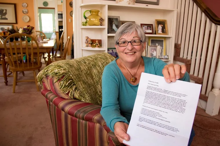 Terry Baraldi holds a copy of the letter she wrote to herself reminding her to cooperate when her children think it's time for her to move from her home.