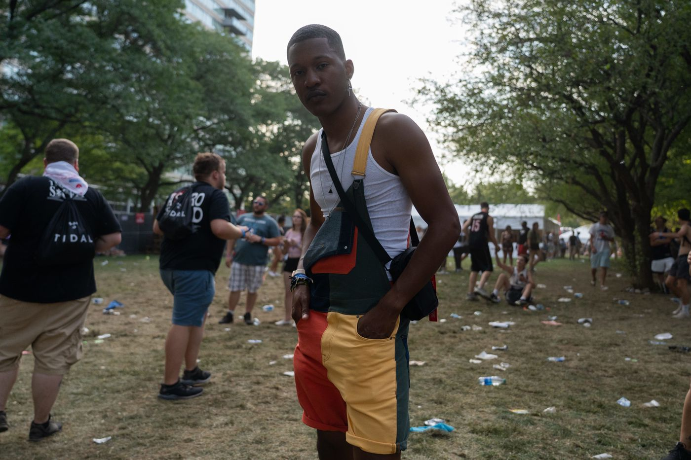 """Diyante Brown, 22 from Chicago wearing his outfit from H&M and is """" here to see Travis Scott and have a great time"""" at Made in America Festival on Benjamin Franklin Parkway in Center City, Philadelphia on Saturday, August 31, 2019."""