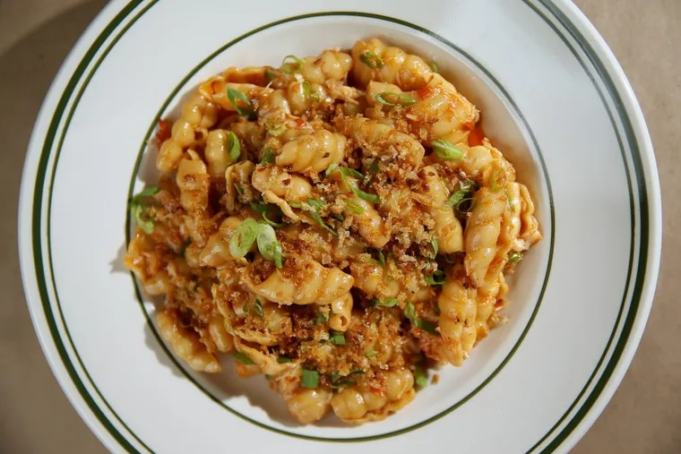 The spicy crab arrabbiatio with shell pasta at Trattoria Carina.