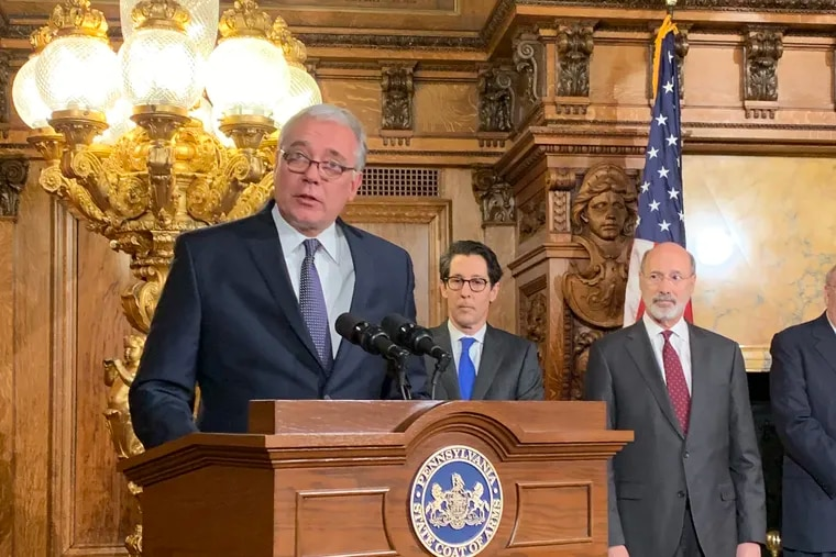 State Rep. Mike Tobash, (R., Schuylkill Haven), chair of the bipartisan Pennsylvania Public Pension Management and Asset Investment Review Commission, with vice chair Joe Torsella, who is Pennsylvania's elected Treasurer, and Torsella's fellow Democrat, Gov. Tom Wolf.