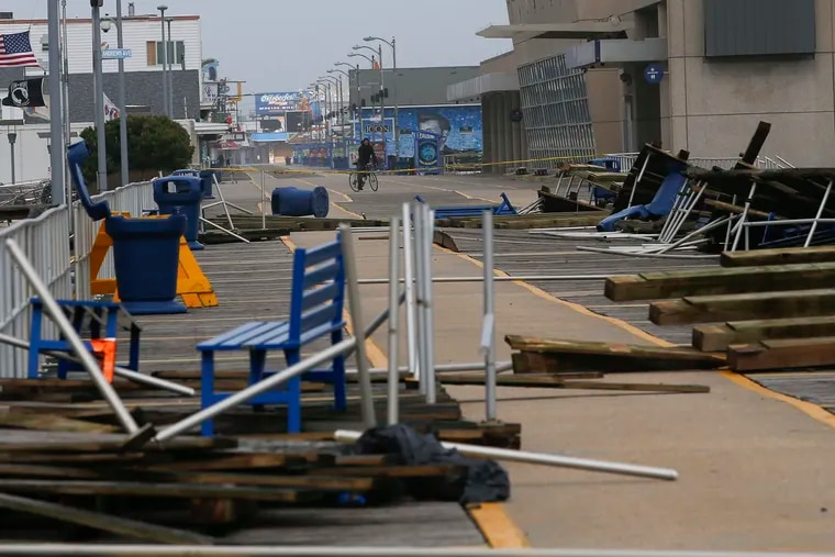 Pieces of the Wildwood boardwalk after it was damaged by strong winds last week.