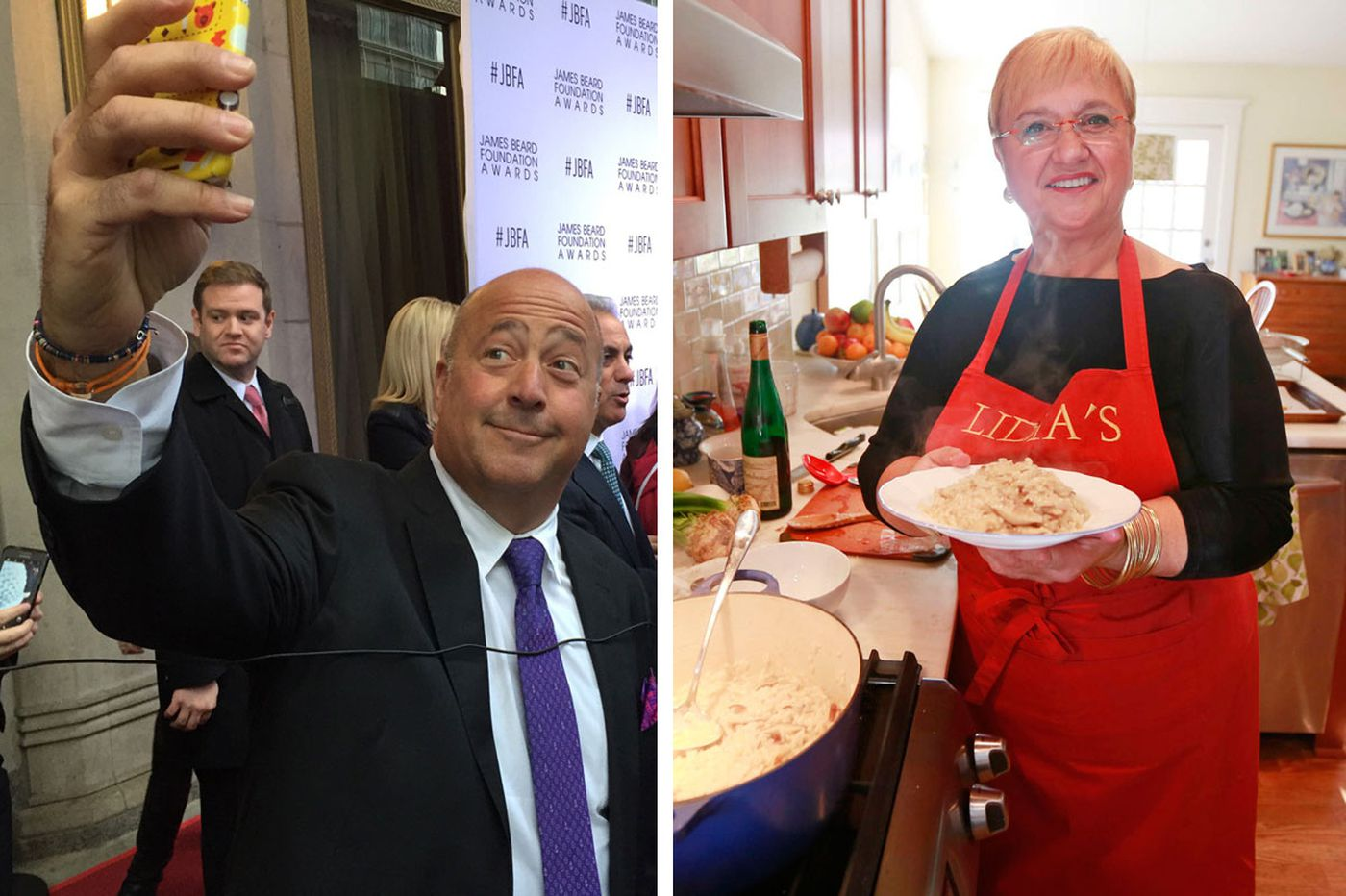 See food personalities Andrew Zimmern and Lidia Bastianich