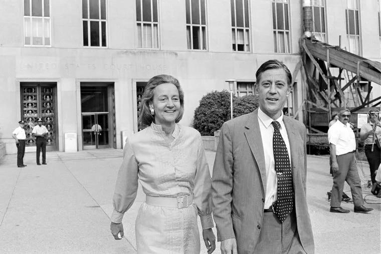 Washington Post Executive Director Ben Bradlee and Post Publisher Katharine Graham leave U.S. District Court in Washington on June 21, 1971.
