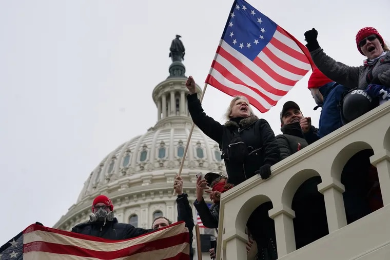 Insurrectionists at the U.S. Capitol on Jan. 6.