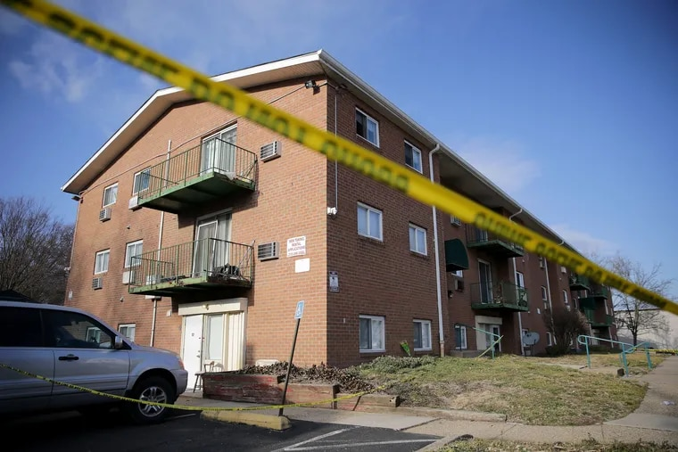 An overall view of the Robert Morris Apartments in Morrisville, Pa., on Feb. 26, 2019. Shana S. Decree, 45, and her daughter Dominique Decree, 19, were charged with five counts each of homicide and one count of conspiracy in the deaths of five family members whose bodies were found Feb. 25 inside unit S-7 of the apartment building.