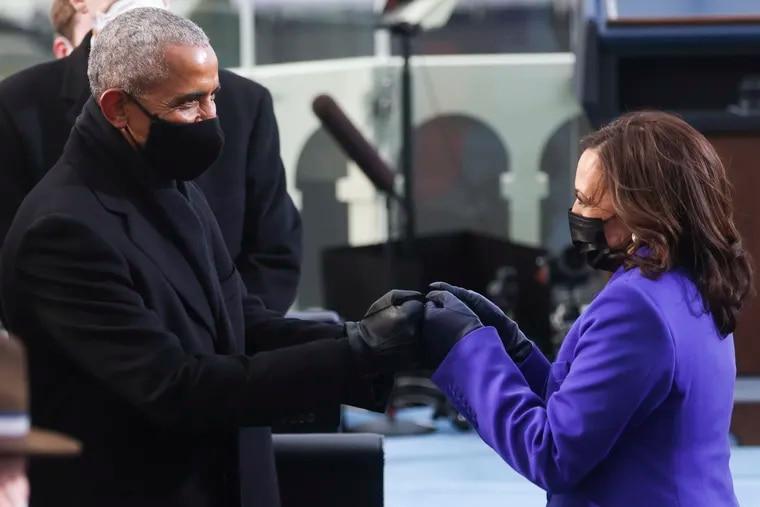 Former President Barack Obama greets Vice President Kamala Harris ahead of President Joe Biden's inauguration, Wednesday, Jan. 20, 2021, at the U.S. Capitol in Washington.
