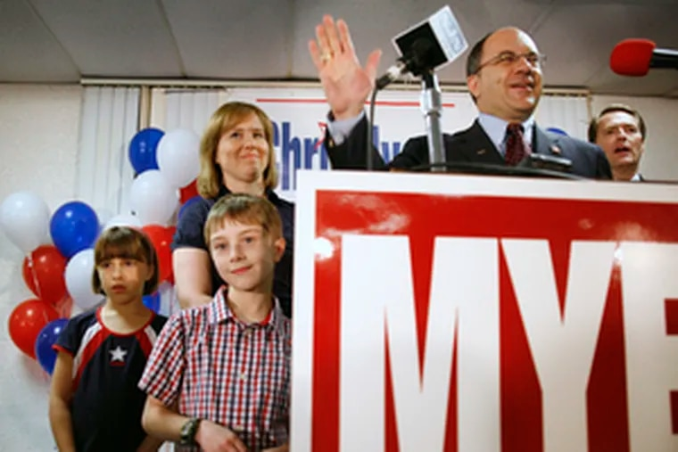 Chris Myers declares victory over Jack Kelly for the GOP nomination to replace retiring Rep. Jim Saxton in the Third District . At left are wife Tiffany and children Ellie and Grayson. At right is State Sen. Philip Haines.