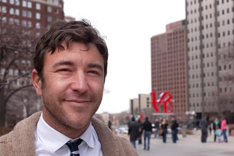 Jeff Hobbs visiting Philadelphia's Love Park on Mar. 13, 2015.                                      ( Chanda Jones / Staff Photographer )